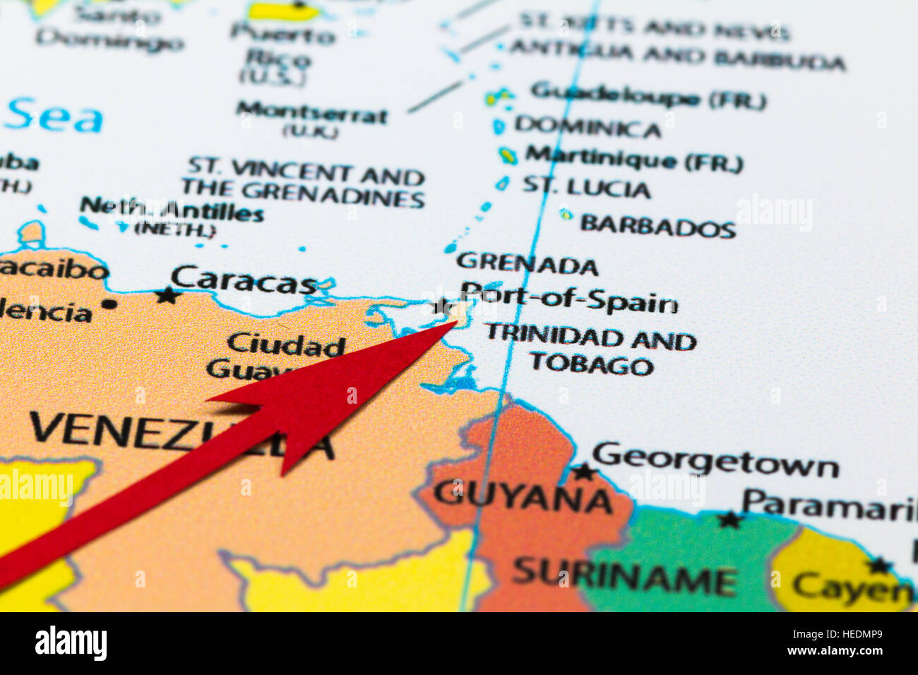 Red arrow pointing Trinidad and Tobago on the map of South America