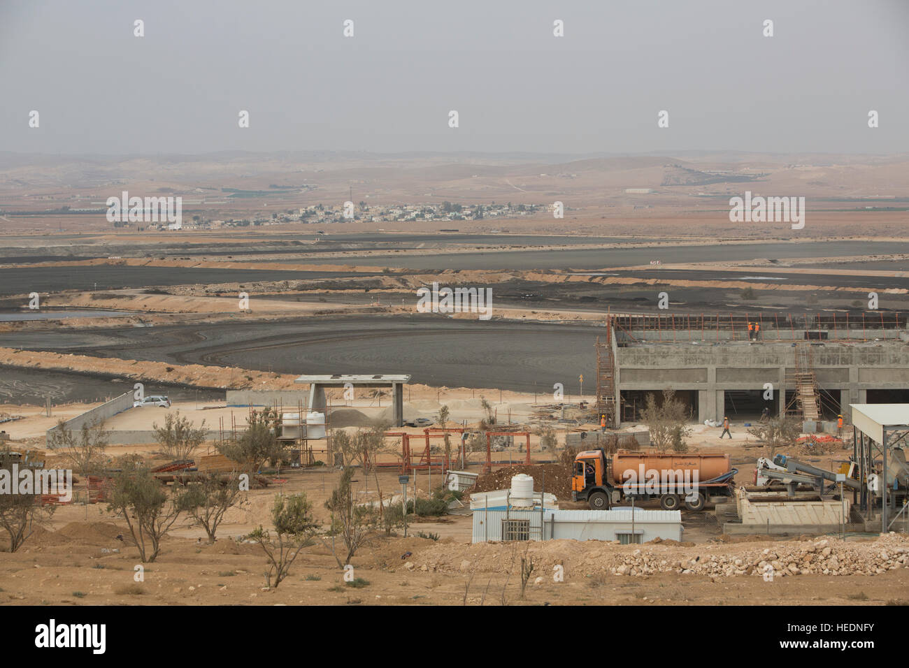 As-Samra waste water treatment plant in Zarqa, Jordan. - Stock Image
