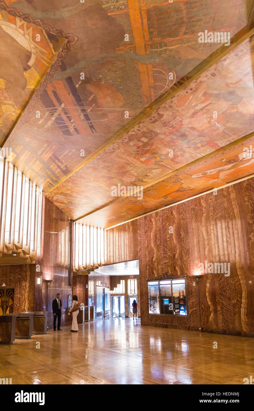 Interior view of the landmarked Chrysler Building lobby, with art deco architectural details and wood panelled ceiling - Stock Image