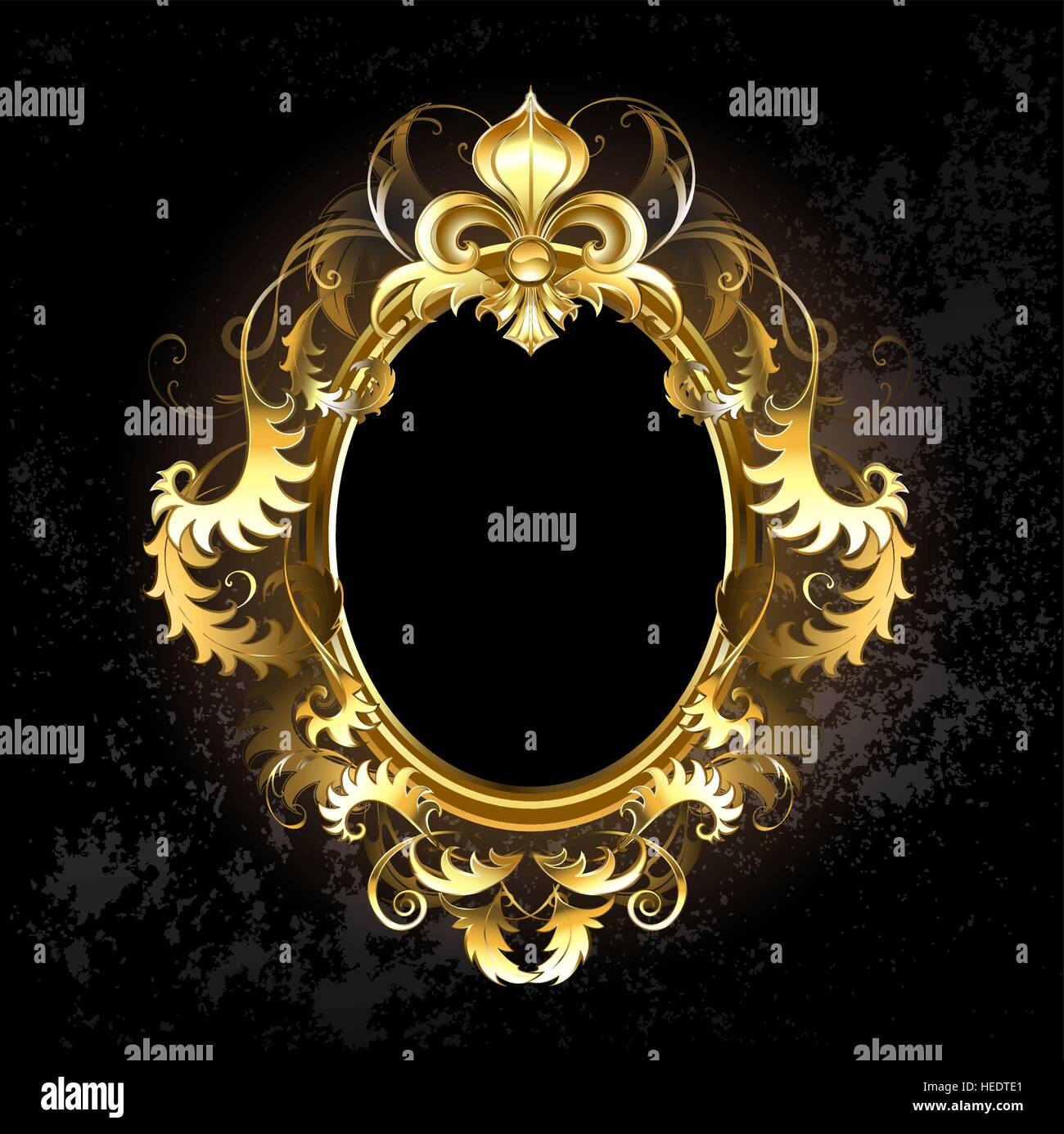 Oval Jewelry Banner Framed Golden Ornament With A Gold Fleur De Lis