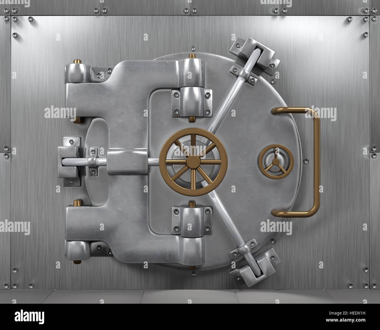 Close Bank Vault Door - Stock Image