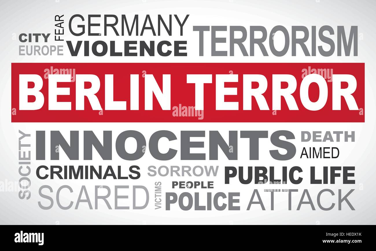 Berlin terror in Germany - word cloud illustration english Stock Vector
