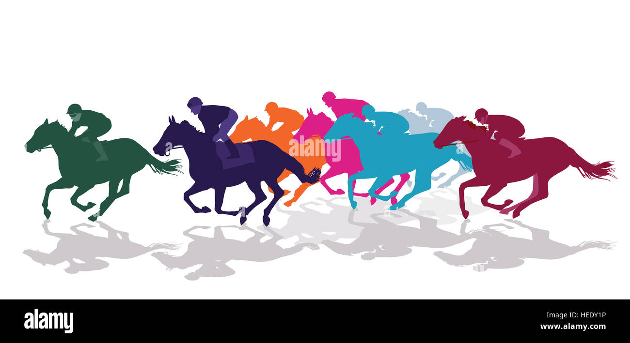 Jockeys with racing horses - Stock Image