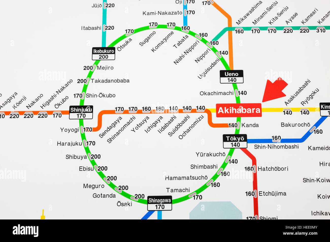 Subway Map For All Of Tokyo English.Japan Honshu Tokyo Akihabara Station Train Network Map Showing