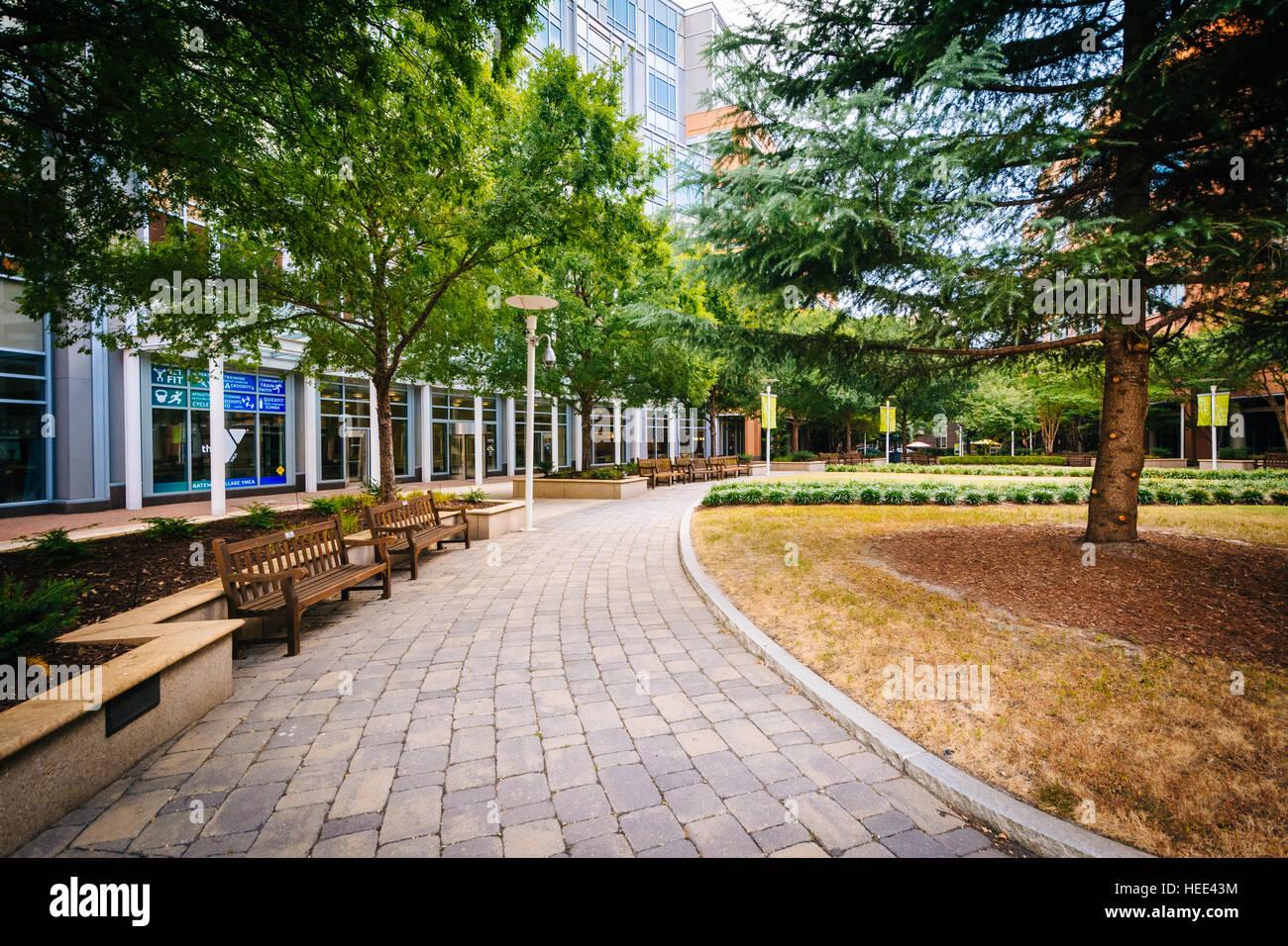Walkway and buildings at Johnson & Wales University, in Charlotte, North Carolina. Stock Photo