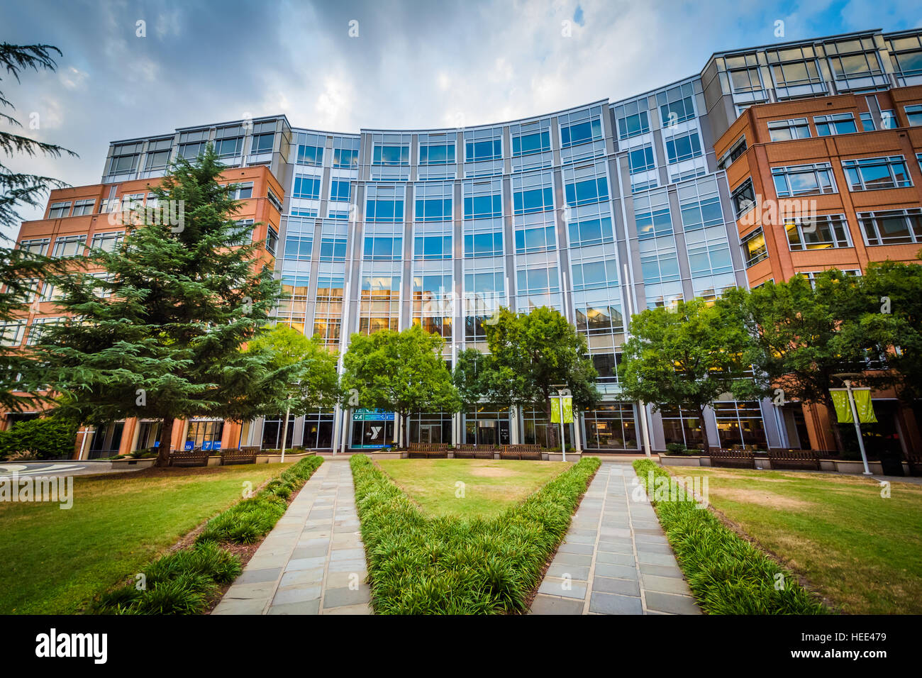 Walkways and building at Johnson & Wales University, in Charlotte, North Carolina. Stock Photo