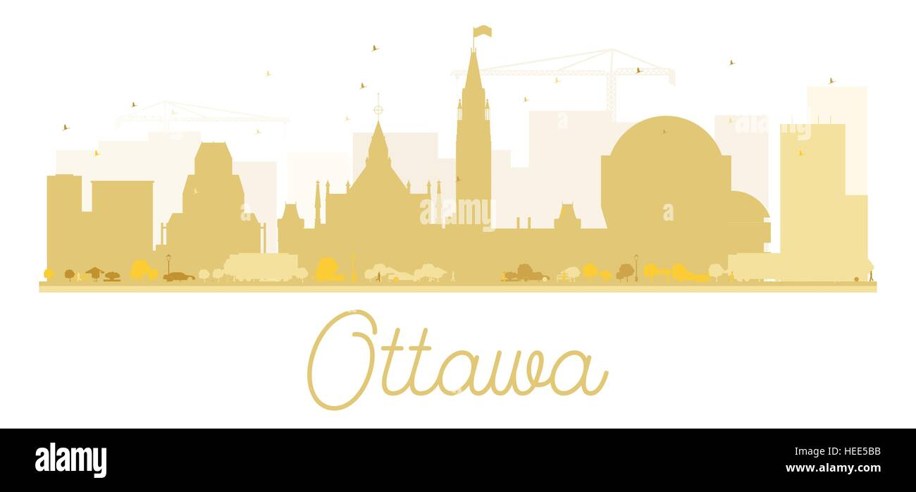 Ottawa City skyline golden silhouette. Vector illustration. Simple flat concept for tourism presentation, banner, - Stock Image