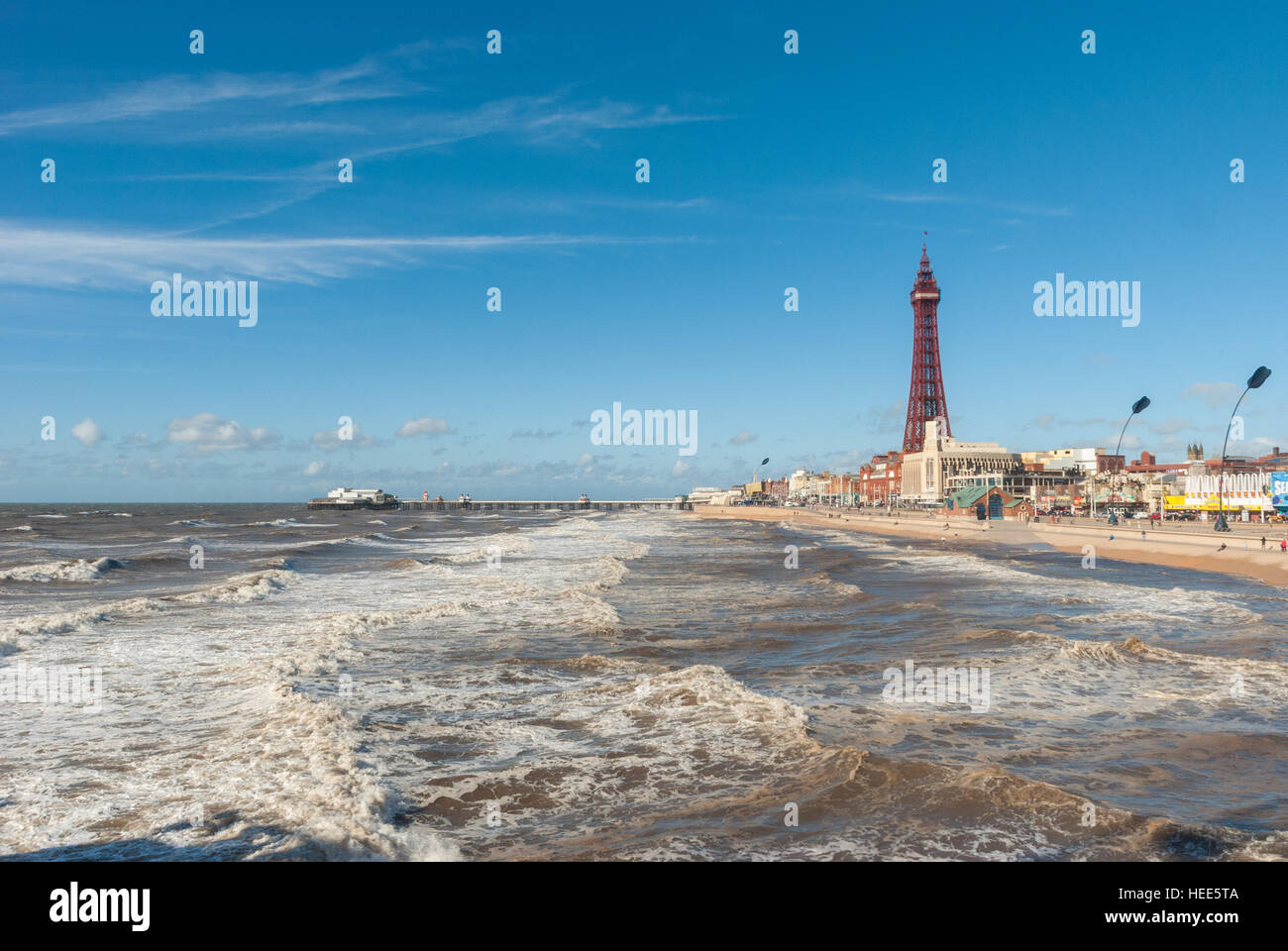 Blackpool Tower and beach in Blackpool England - Stock Image