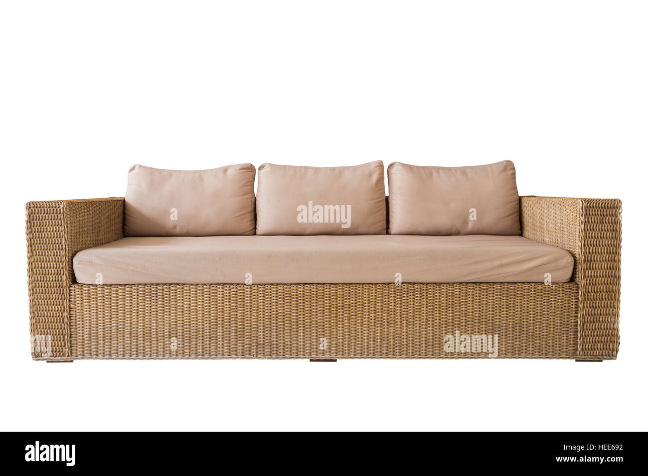 Rattan Sofa With Grey Cushions Isolated On White Background Saved Stock Photo Alamy