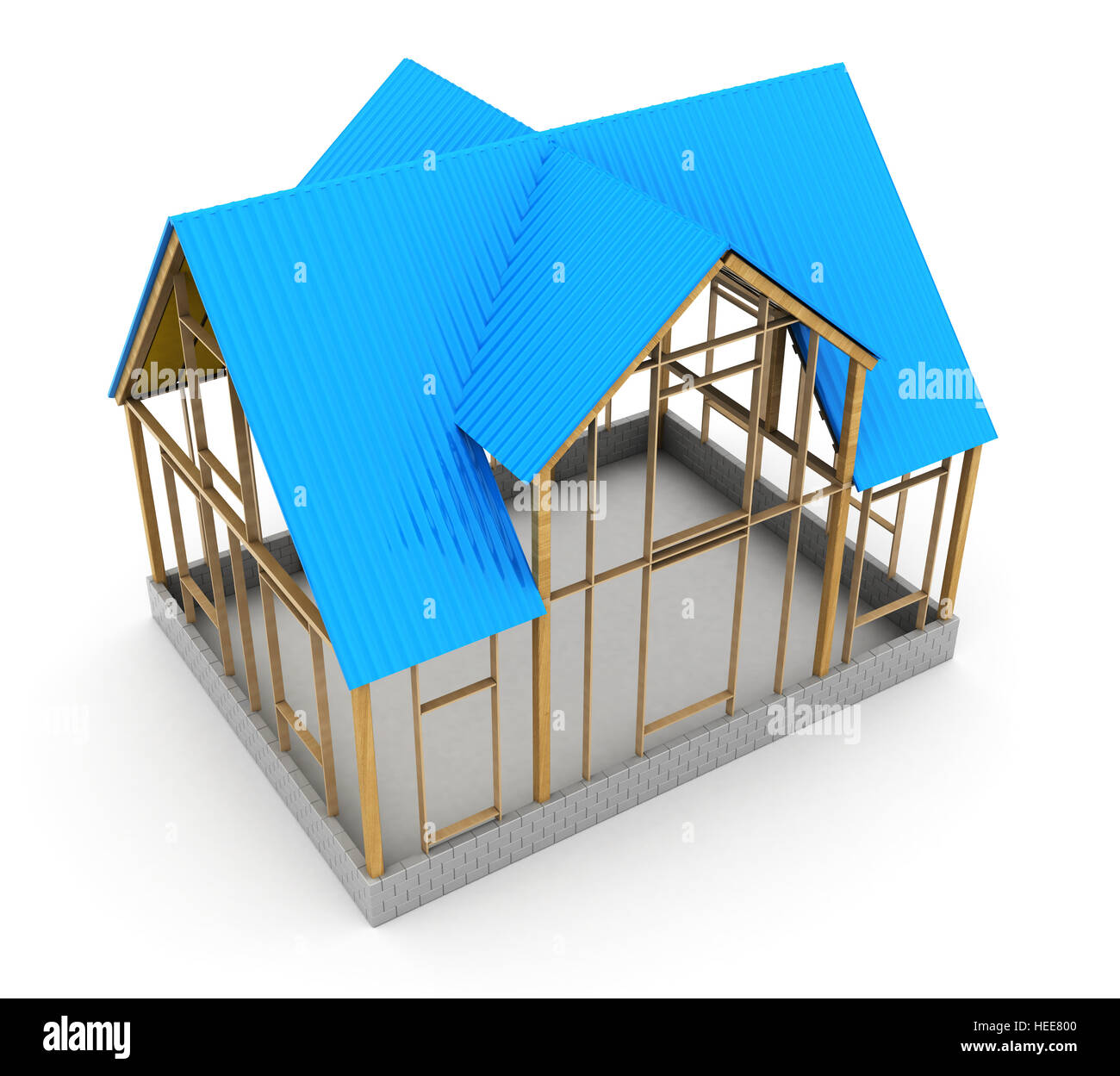 3d illustration of frame house construction blue metal roof stock 3d illustration of frame house construction blue metal roof ccuart Gallery
