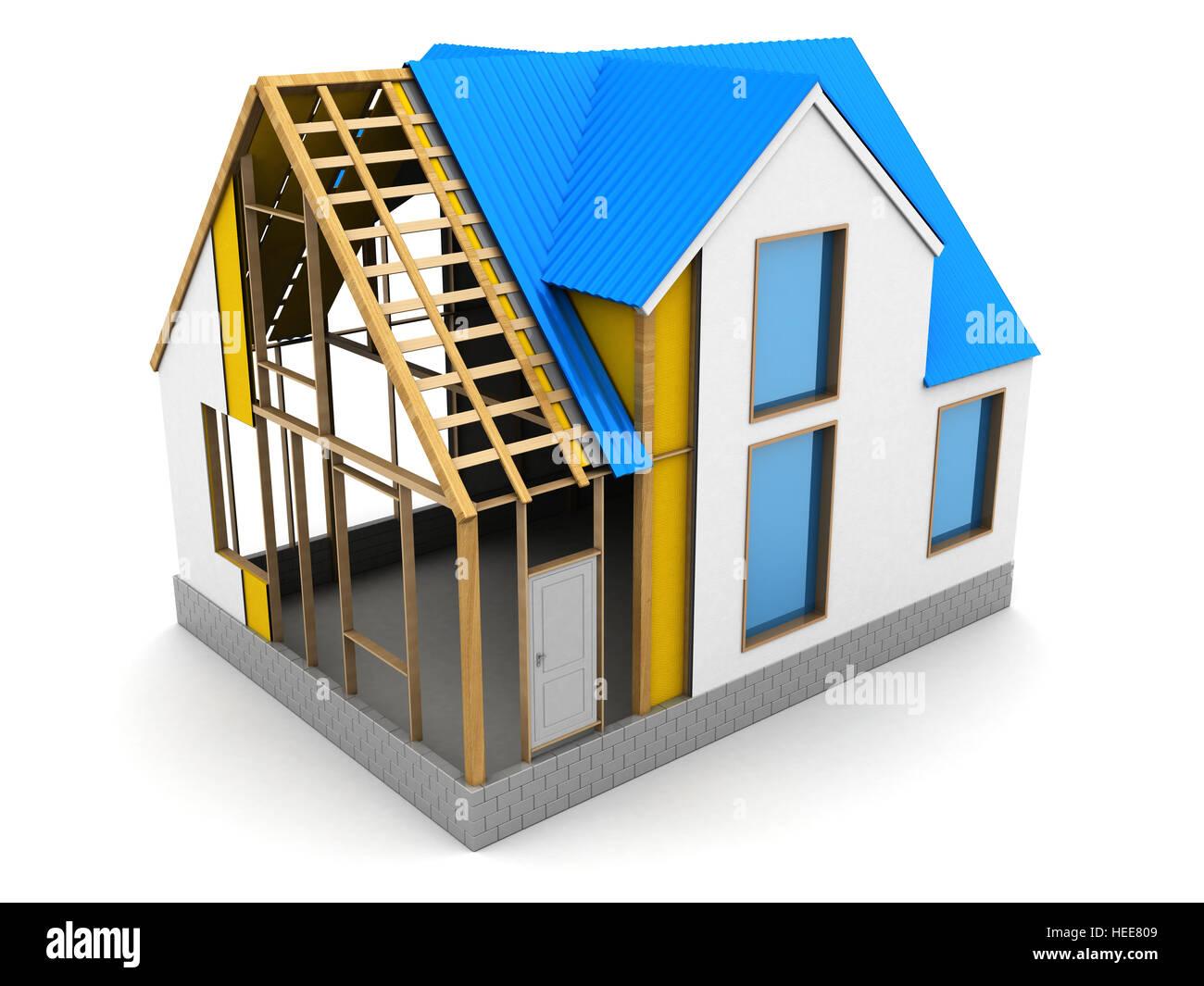 Lovely 3d Illustration Of Frame House Construction Process
