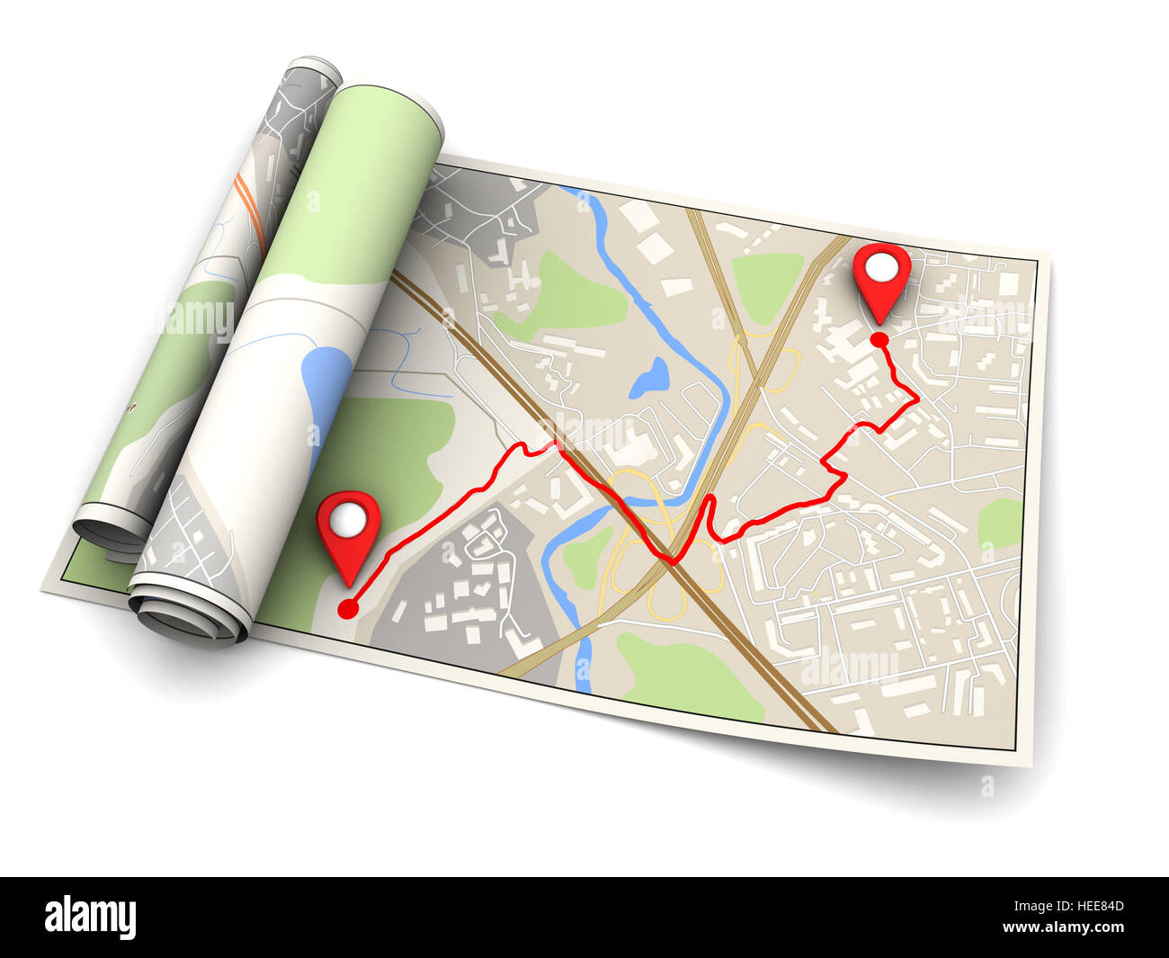 3d illustration of map with navigation route, over white background - Stock Image