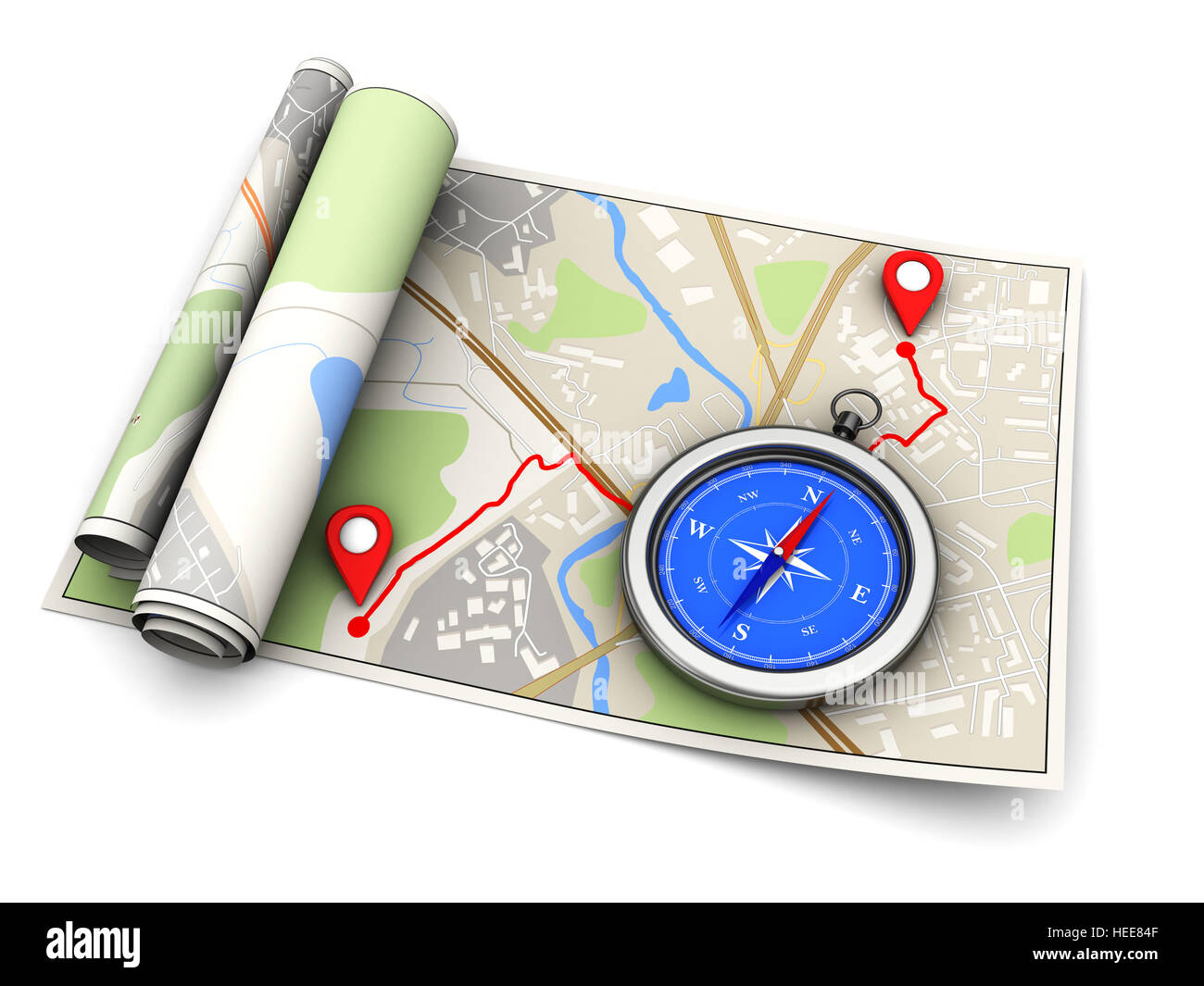 3d illustration of map with route and compass, navigation concept - Stock Image