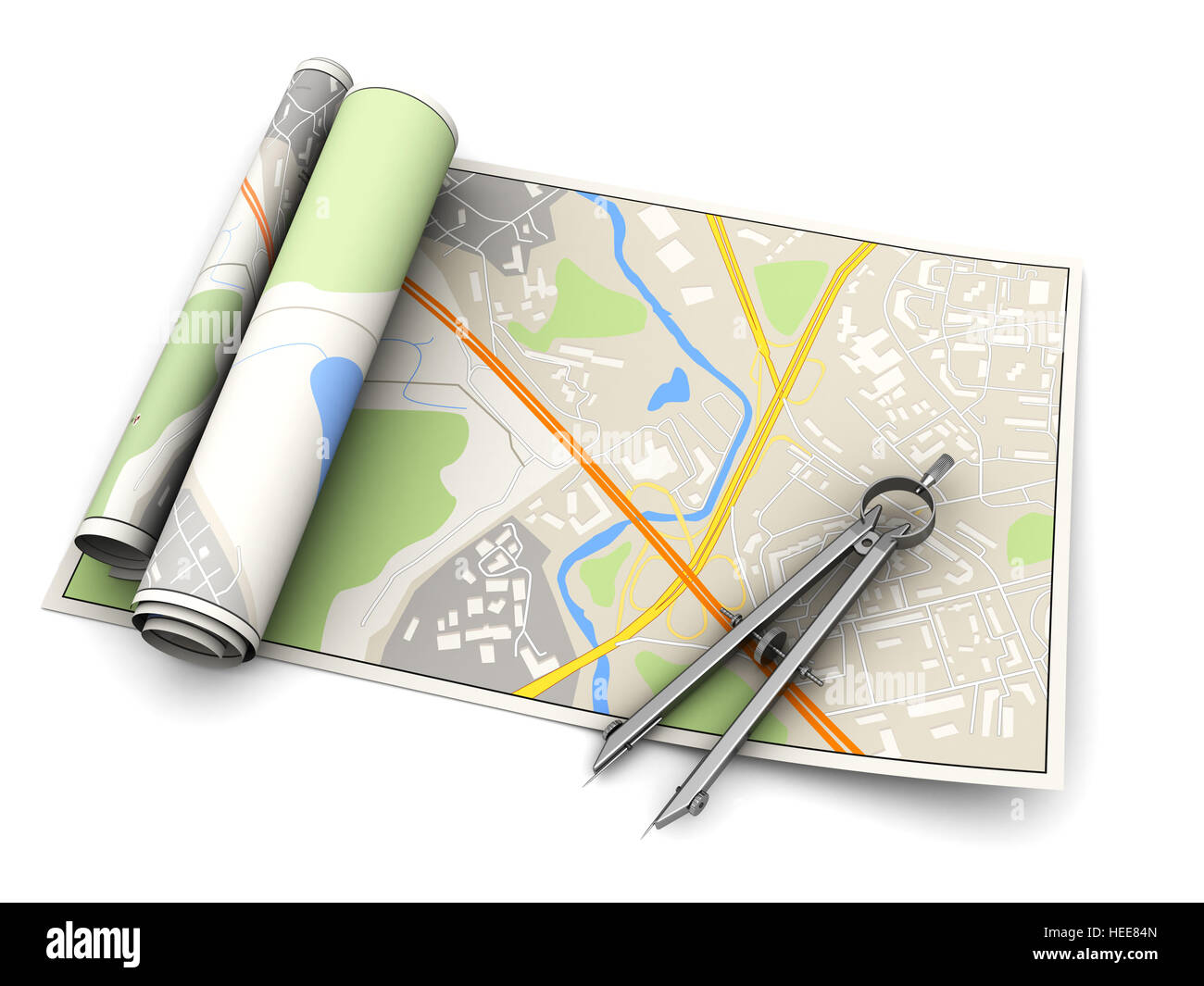 3d illustration of city map with measure tool over white background - Stock Image