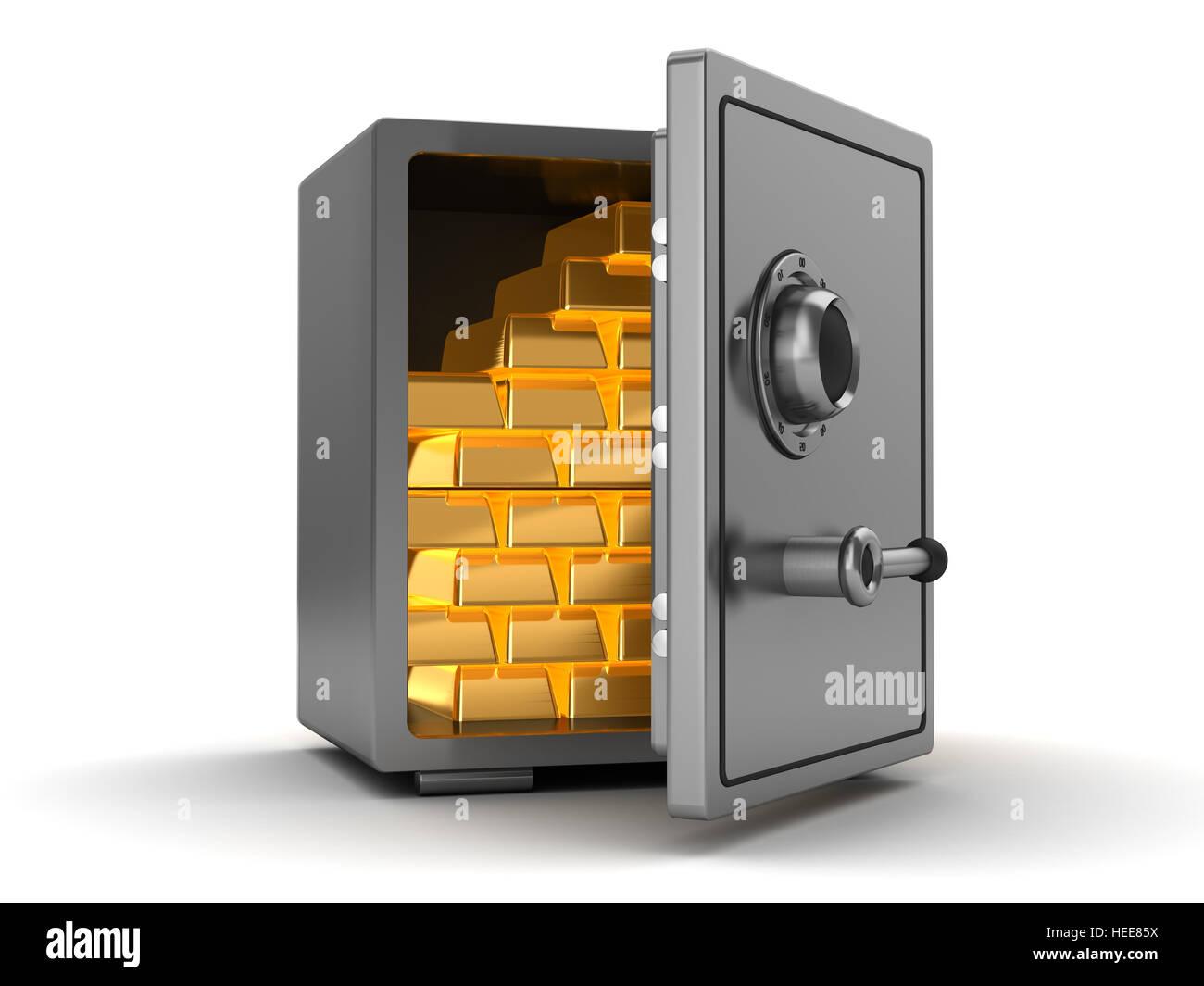 3d illustration of steel safe full of gold - Stock Image