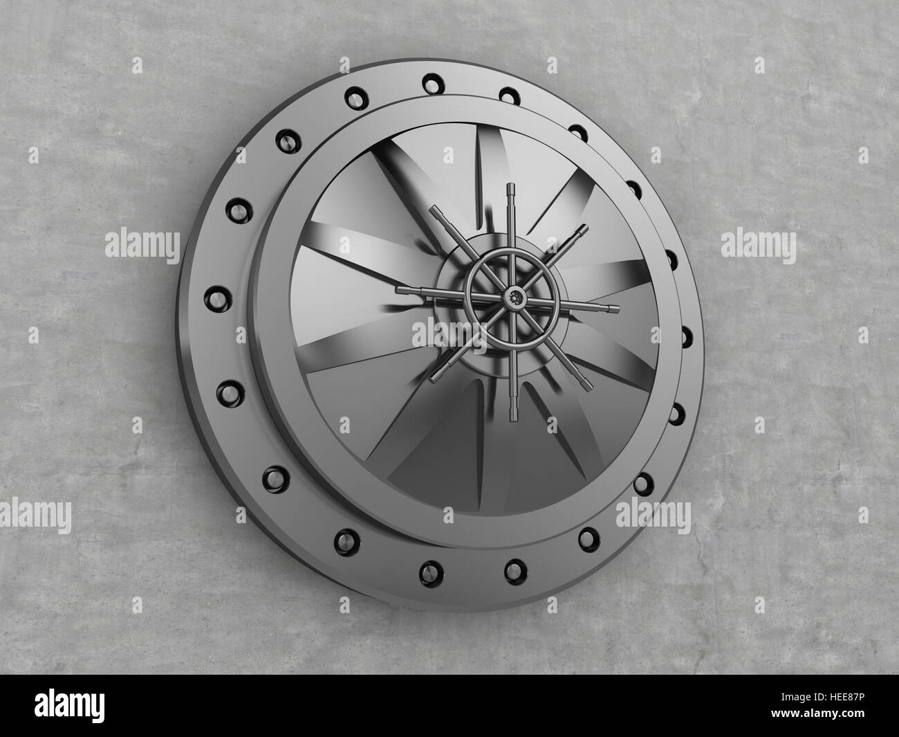 3d illustration of vault door and concrete wall - Stock Image