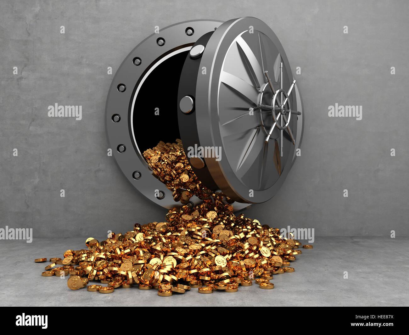 3d illustration of opened vault door and golden coins - Stock Image