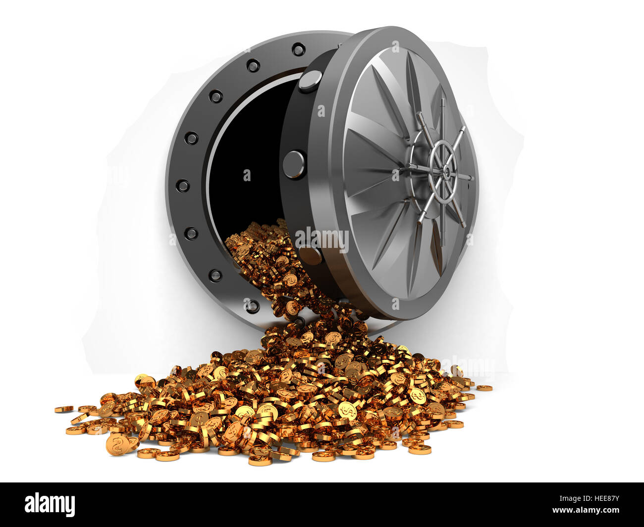 3d illustration of storage full of coins with vault door, over white background - Stock Image