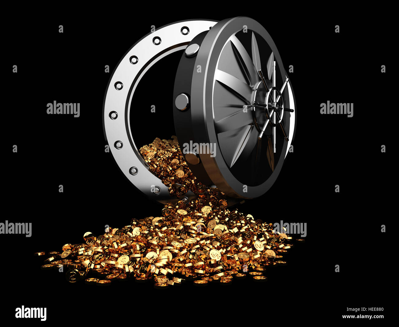 3d illustration of vault door and golden coins - Stock Image
