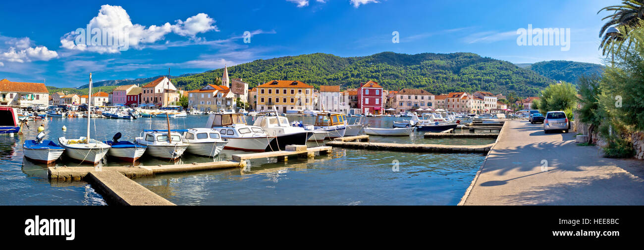Stari Grad on Hvar island panoramic view, Dalmatia, Croatia Stock Photo