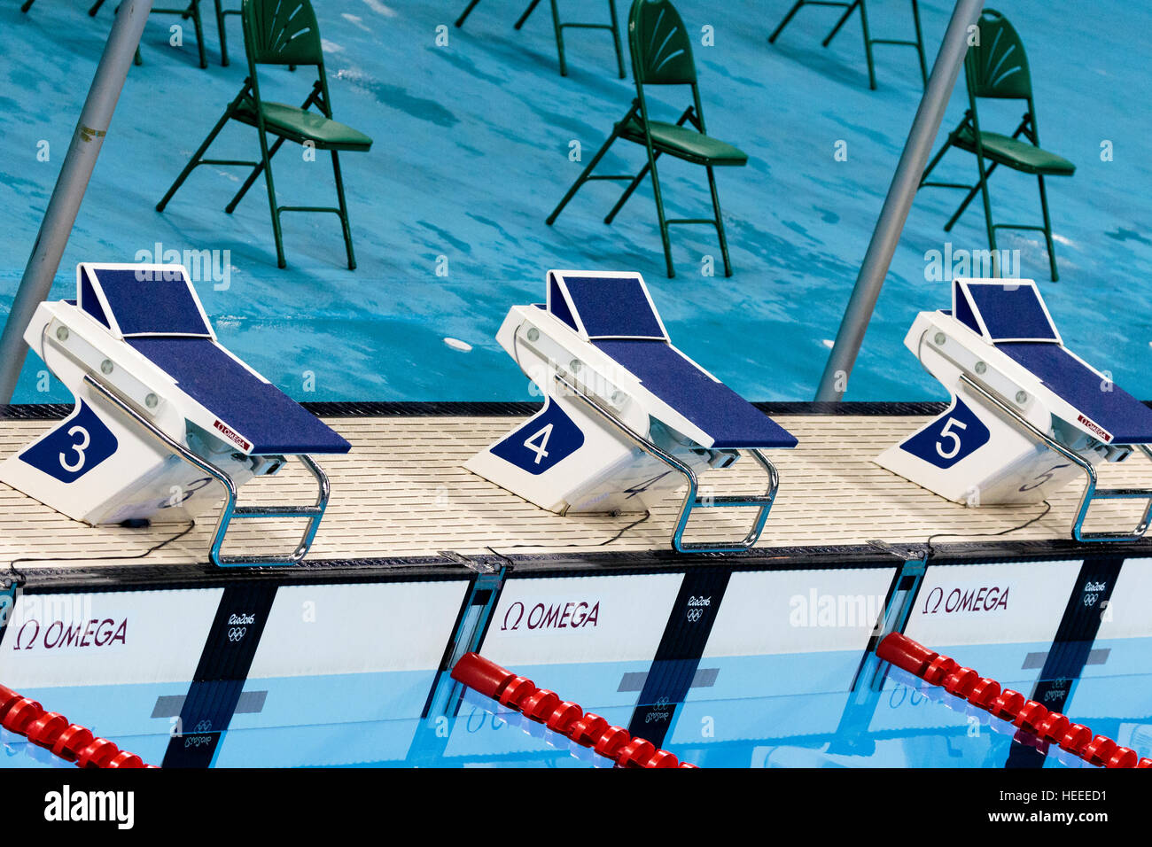 Swimming starting blocks - Stock Image