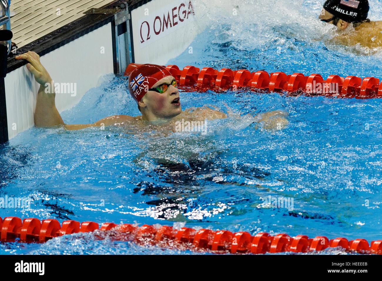 Rio de Janeiro, Brazil. 7 August 2016.   Adam Peaty (GBR) the gold medal winner of the Men's 100m Breaststroke - Stock Image
