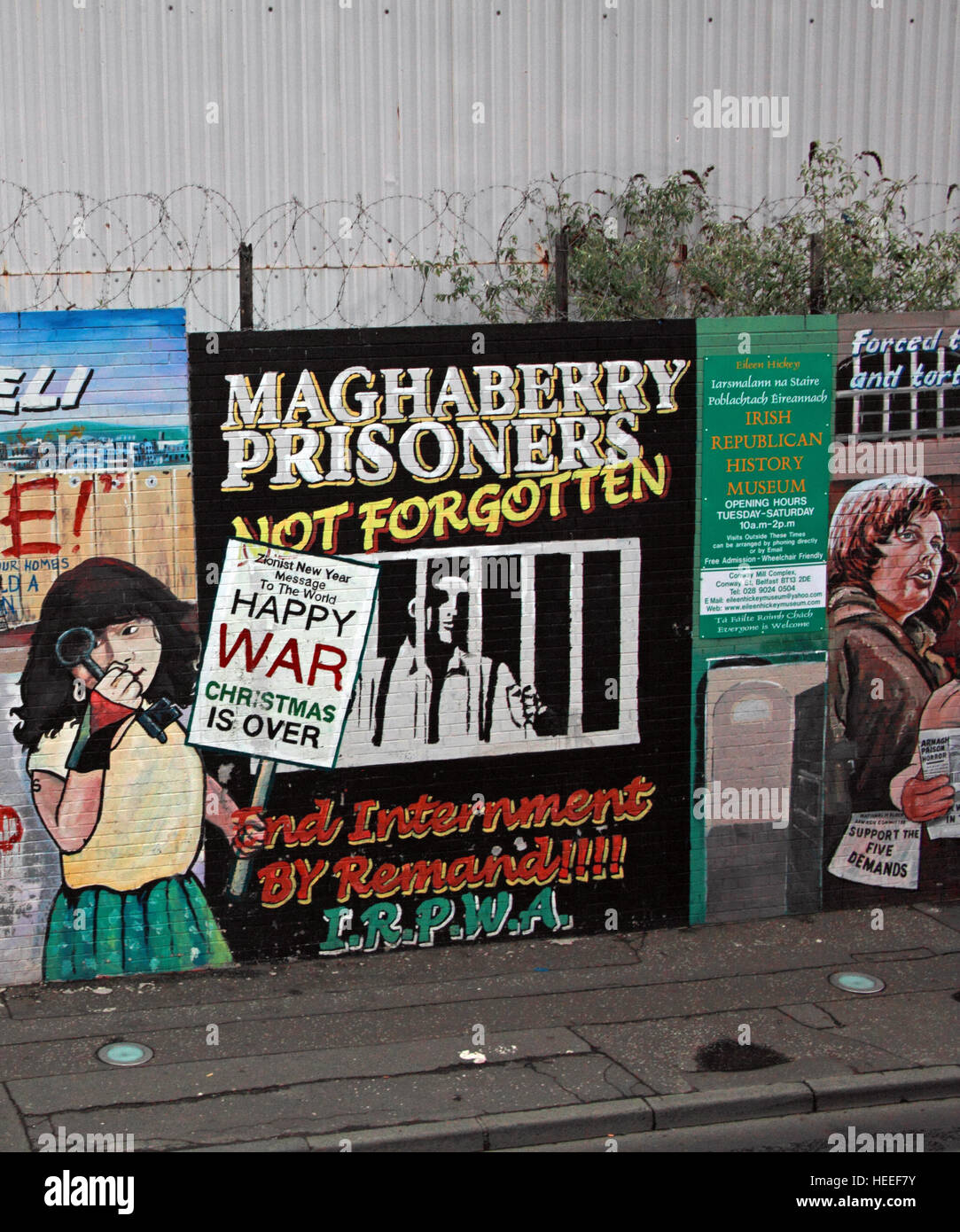 Belfast Falls Rd Republican Mural- Maghaberry Prisoners Not Forgotten LRPWA Internment by remand - Stock Image