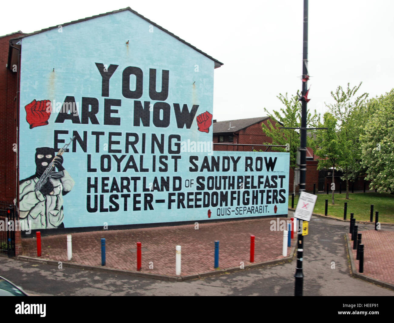 Unionist,Mural- You are now entering Loyalist Sandy Row. Heartland of South Belfast Ulster Freedom Fighters - Stock Image