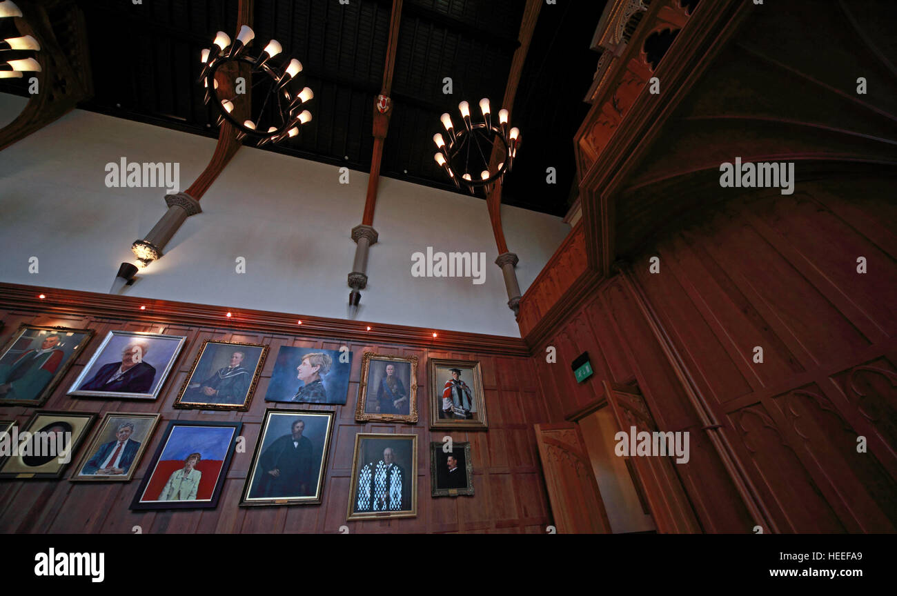 Queens University Belfast The Great Hall with paintings - Stock Image
