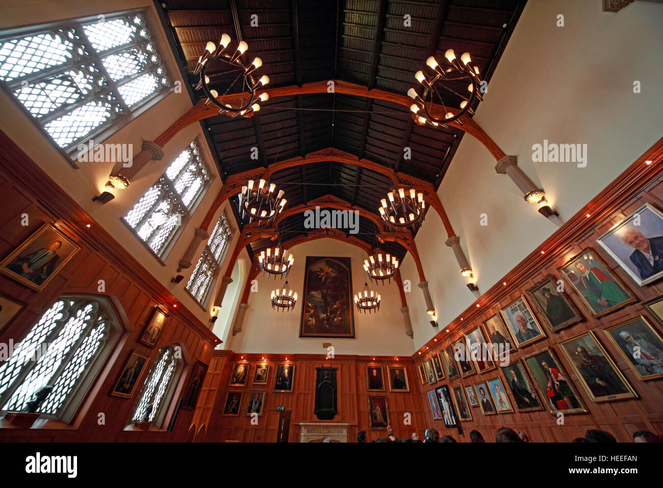 Queens University Belfast halls, with paintings, Northern Ireland, UK - Stock Image