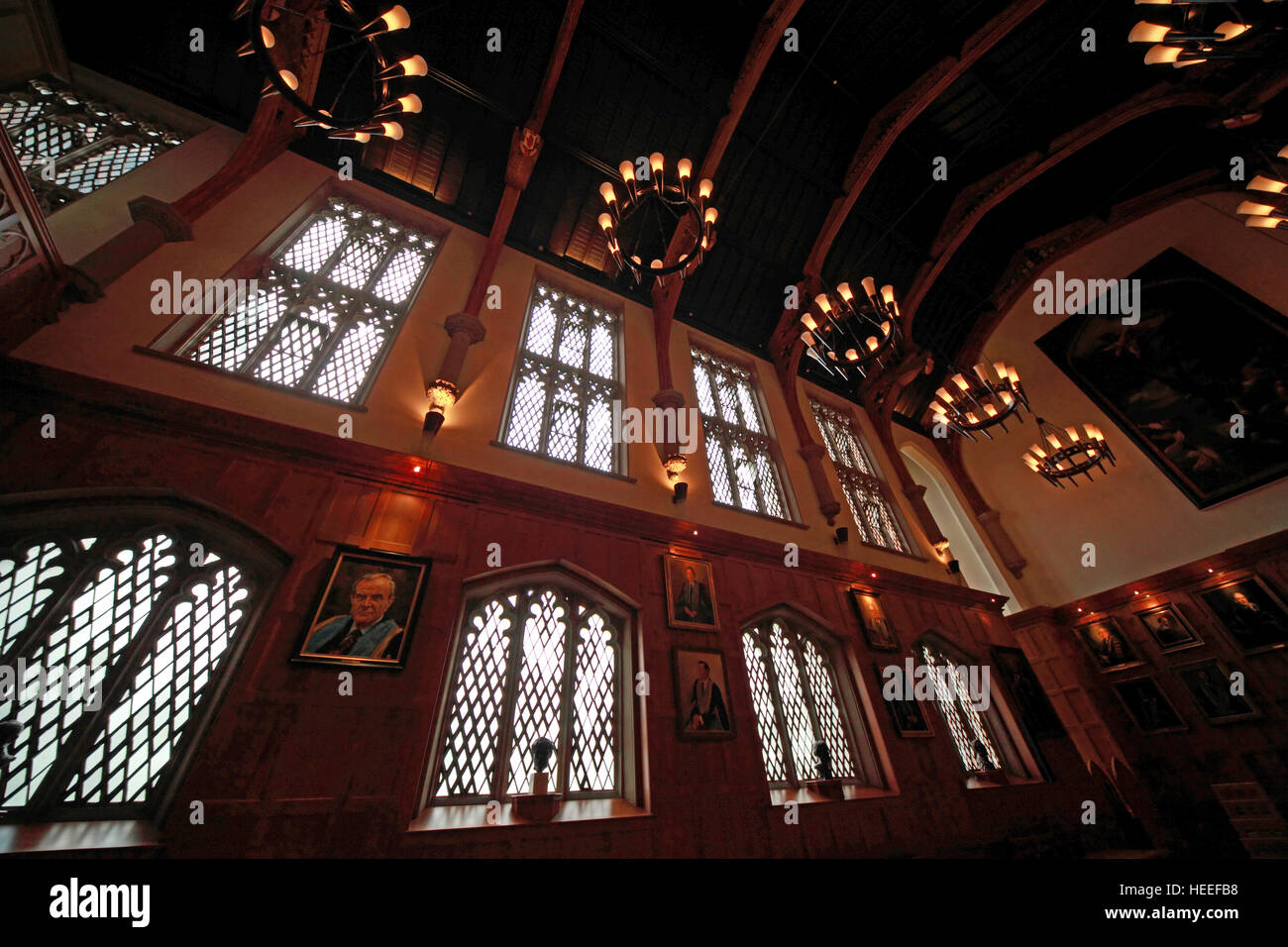 Queens University Belfast grand hall with paintings, Northern Ireland, UK - Stock Image