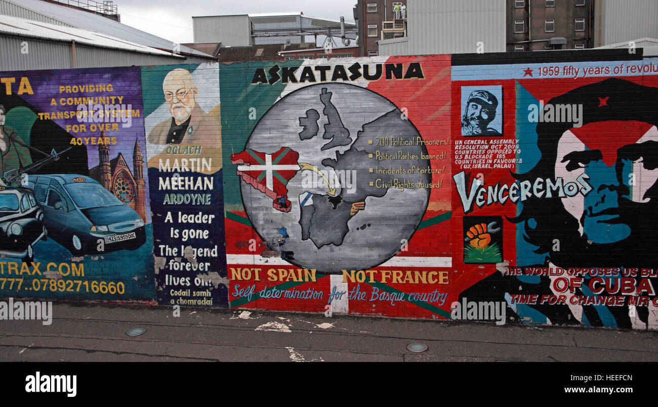 Belfast Falls Rd Republican Mural,Askatasuna Not Spain, Not France - Stock Image