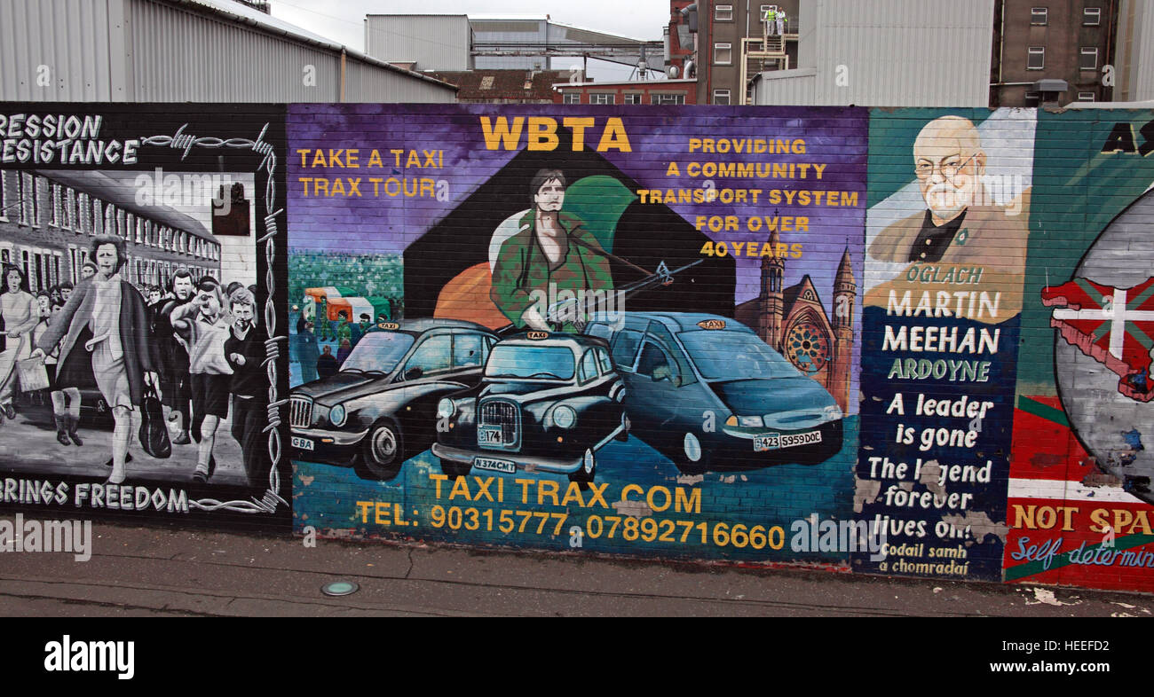 Belfast Falls Rd Republican Mural Martin Meehan,take a taxi tour WBTA Stock Photo