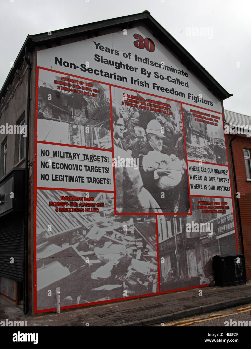 Belfast Unionist, Loyalist Mural Bayardo Bar,Aberdeen St, attack slaughter by IRA Brendan McFarlane - Stock Image
