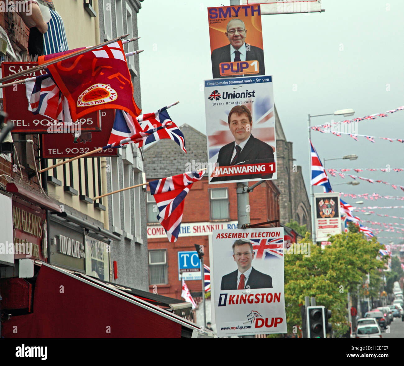 Belfast Unionist, Loyalist Shankill Rd during local elections,DUP,PUP with union flags - Stock Image