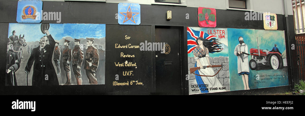 Belfast Unionist, Loyalist Mural pano,Sir Edward Carson reviews West Belfast UVF Glencairn 6th June - Stock Image