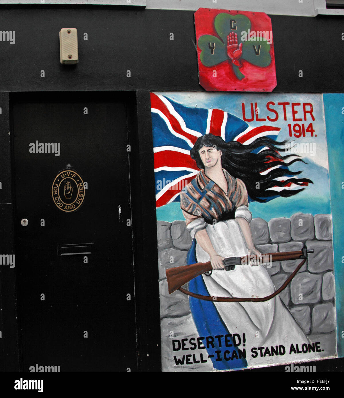 Belfast Unionist, Loyalist Mural Ulster 1914 woman deserted,well I can stand alone! - Stock Image