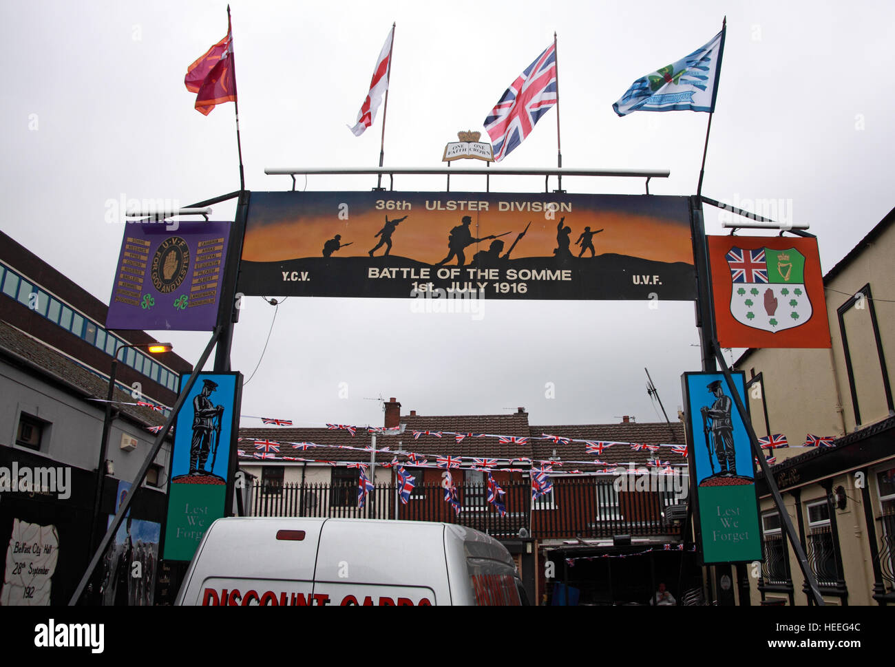 Belfast Unionist, Loyalist Mural battle of the Somme,36th Ulster - Stock Image