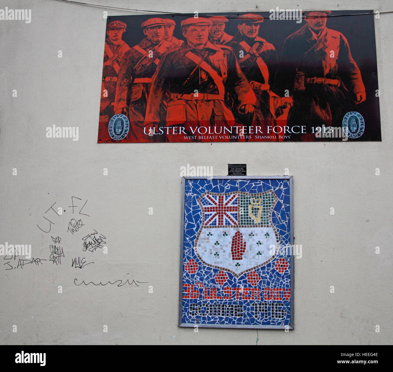Belfast Unionist, Loyalist Murals,UVF,Ulster Volunteer Force,1913 - Stock Image