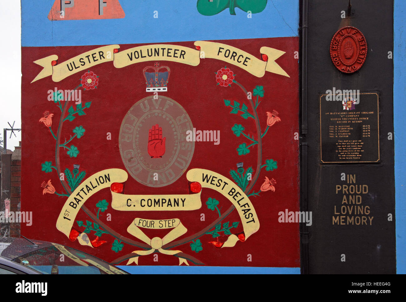 West Belfast Unionist, Loyalist Murals,Ulster Volunteer Force C-Company - Stock Image