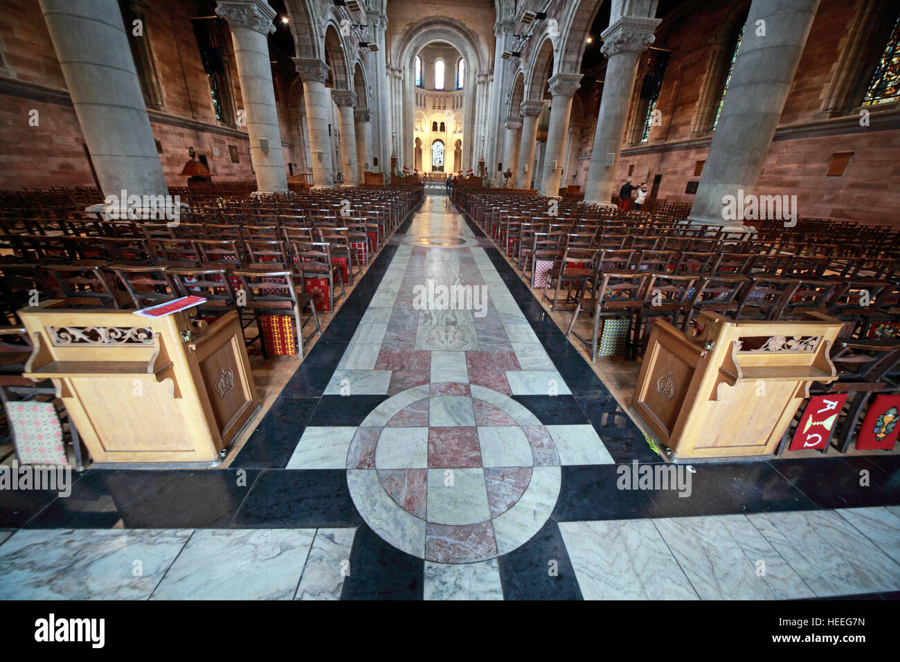 St Annes Belfast Cathedral Interior,pano, - Stock Image