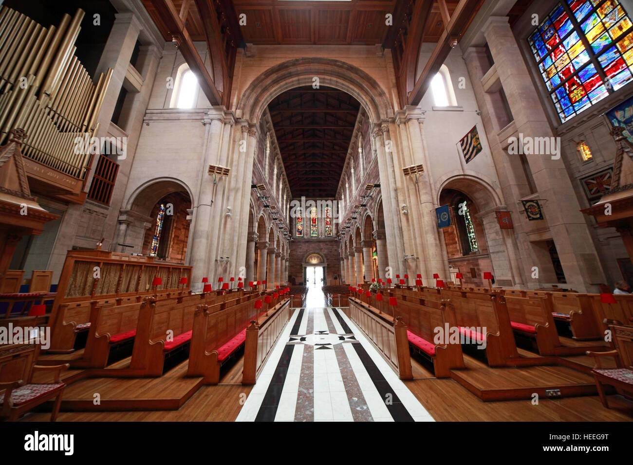 St Annes Belfast Cathedral Interior,from altar, Ireland - Stock Image