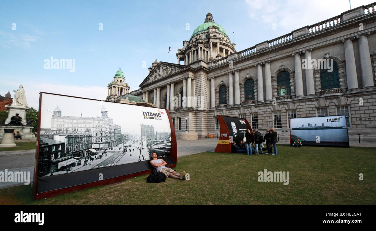 Belfast City Hall Baroque Revival Architecture, Donegall Square, Northern Ireland, UK - Titanic 100 years celebration - Stock Image