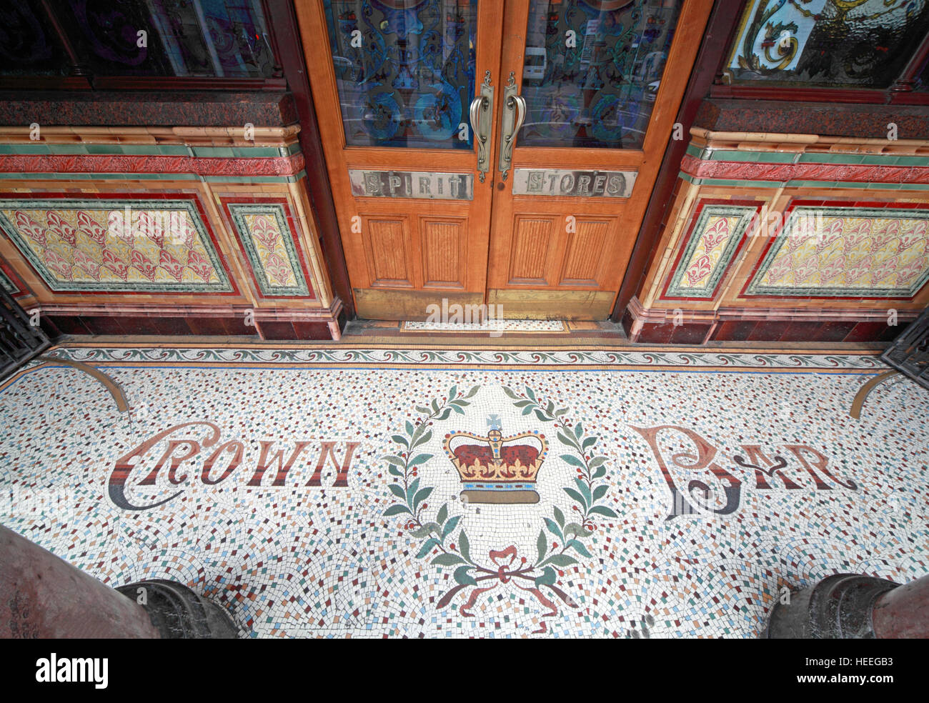 Famous Crown Bar,Gt Victoria St,Belfast Mosaic entrance floor, Northern Ireland,UK - Stock Image