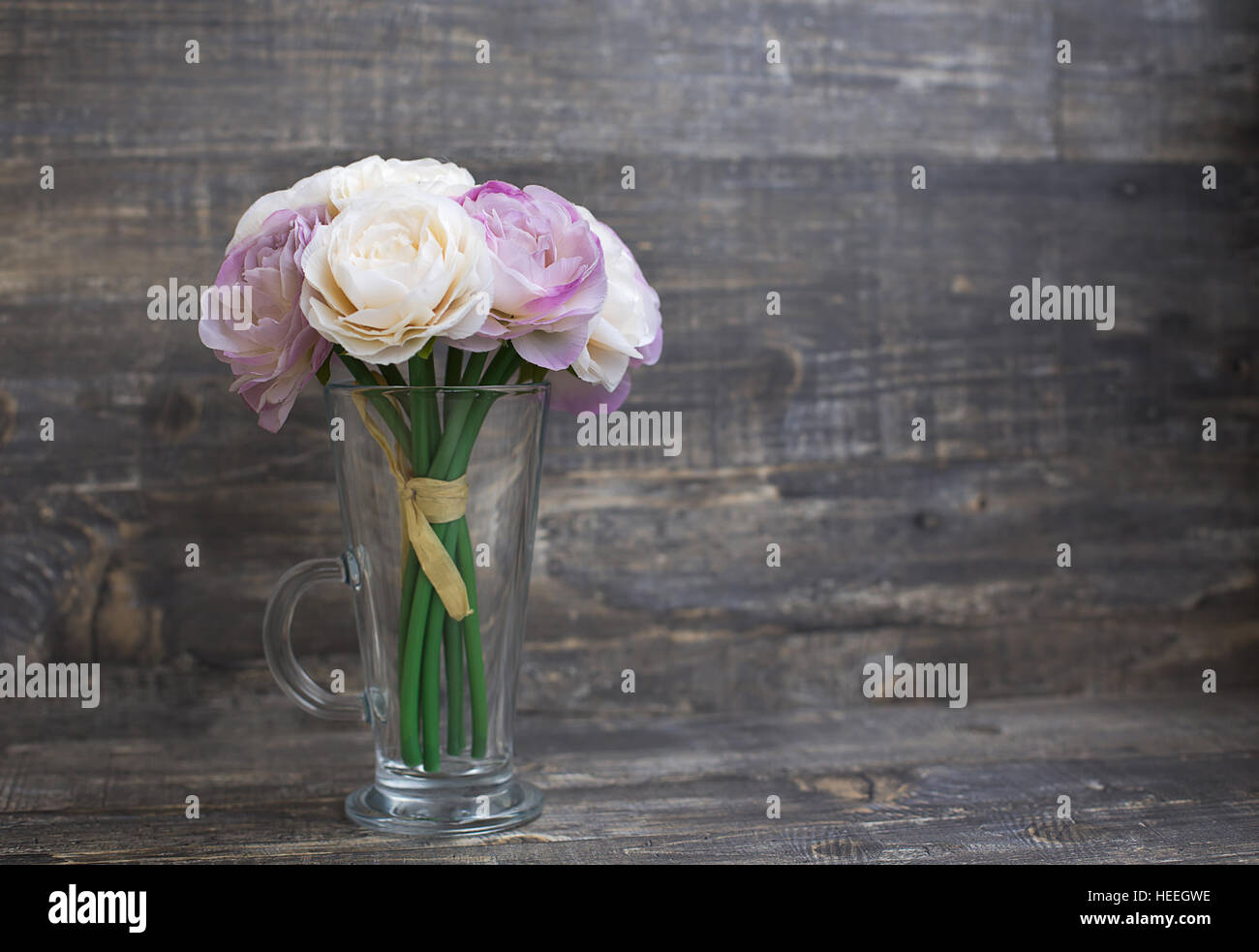 Artificial Flower Bouquet In Vase On Wooden Background Horizontal Stock Photo Alamy