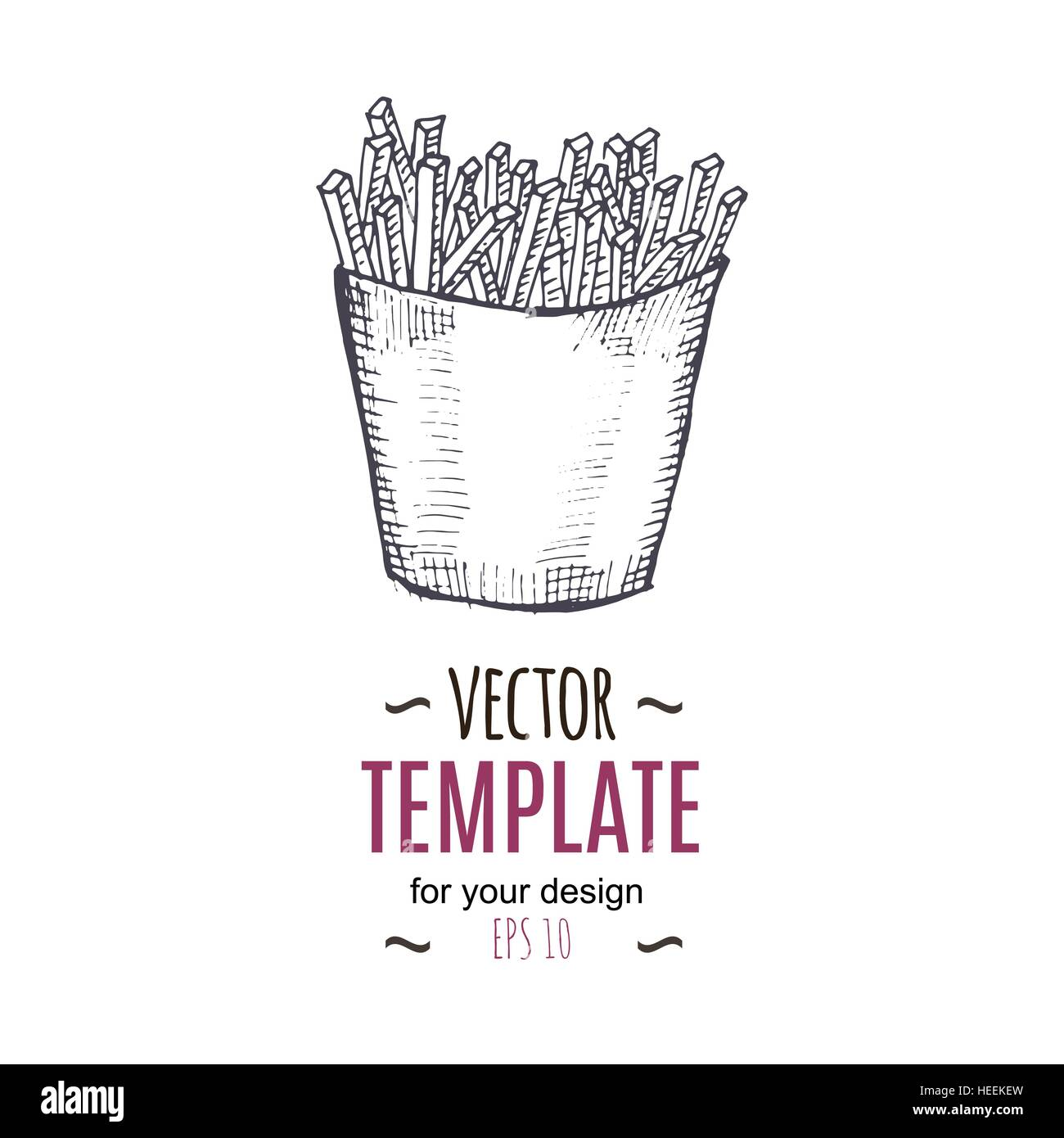 Vector Vintage French Fries Drawing Hand Drawn Monochrome Fast Food Stock Art Illustration Image 129400401