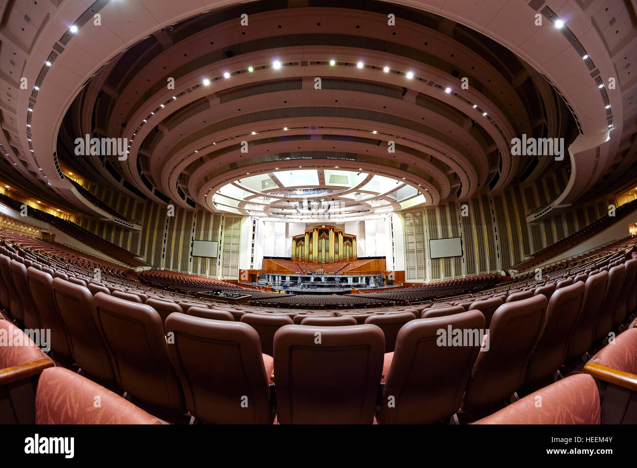 Interior of the 21,000 seat LDS Conference Center auditorium. - Stock Image