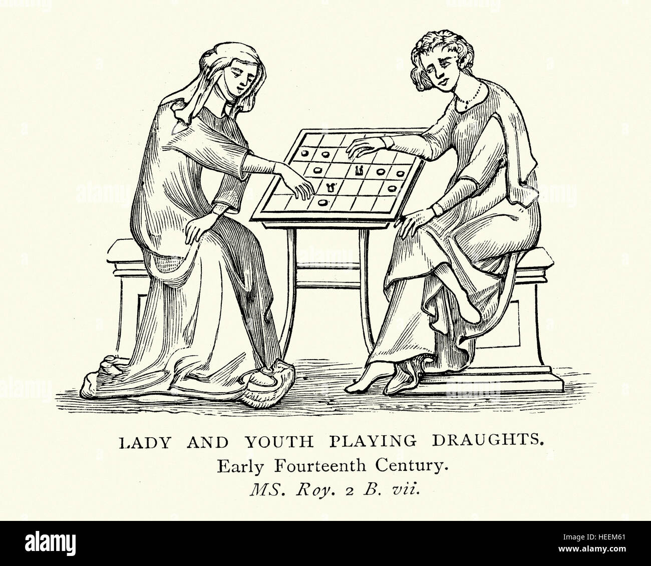 Medieval illustration of lady and youth playing a game of draughts, early 14th Century - Stock Image
