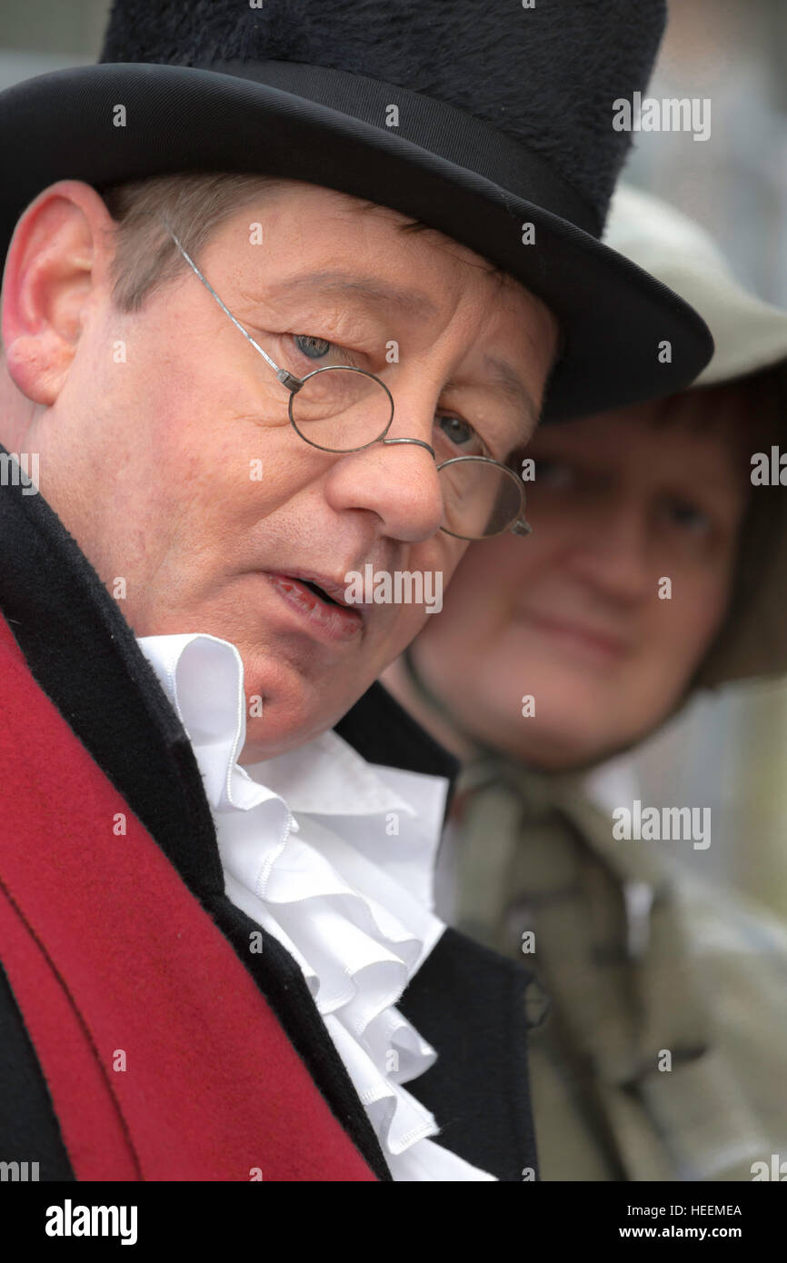 Gentleman in top hat, dressed in 19th century clothes at the annual Dickens Festival, in Deventer, Overijssel, The - Stock Image