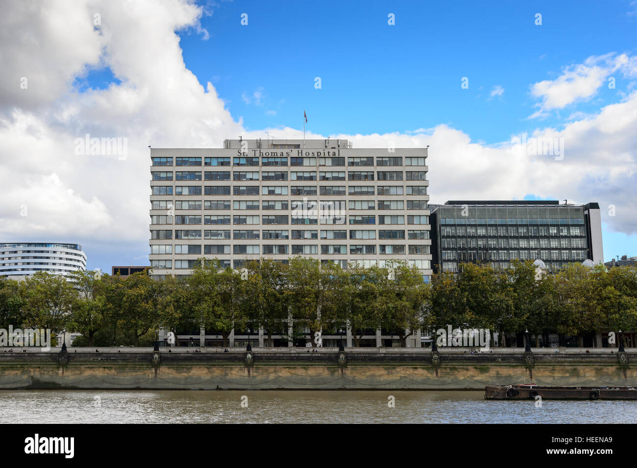 Looking south toward St Thomas' Hospital on the River Thames, London, UK - Stock Image